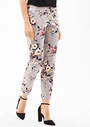 Sue Slim: hlače s cvetličnim vzorcem dolžine 7/8