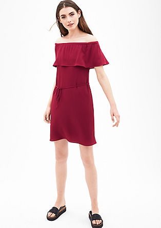 Off-the-shoulder crêpe dress from s.Oliver