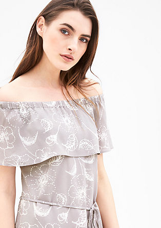 Off Shoulder-Kleid aus Crêpe