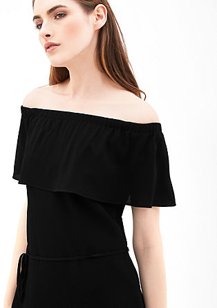 Off-shoulder jurk van crêpe