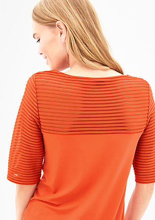 Top with striped mesh sections from s.Oliver