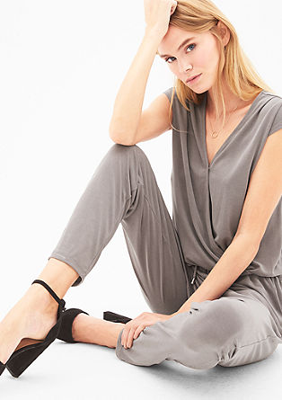 Jumpsuit with a velvety finish from s.Oliver