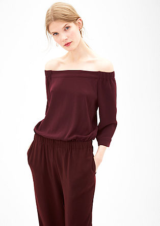 Off-the-shoulder crêpe jumpsuit from s.Oliver