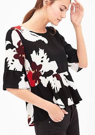 Vzorčasta bluza z volančki