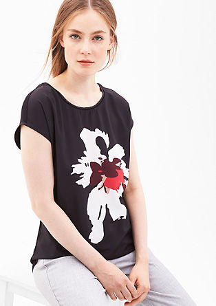 Shirt met korte mouwen en glinsterende details