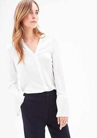 Bluse mit Plissee-Ärmeln