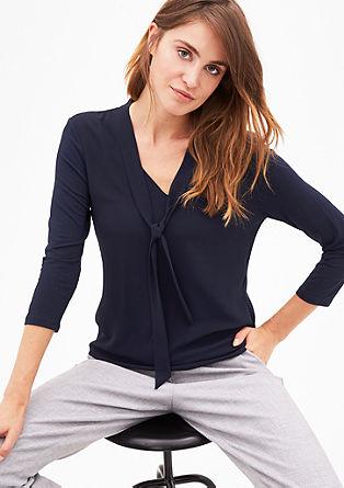 Shirt met striklint, van een materiaalmix