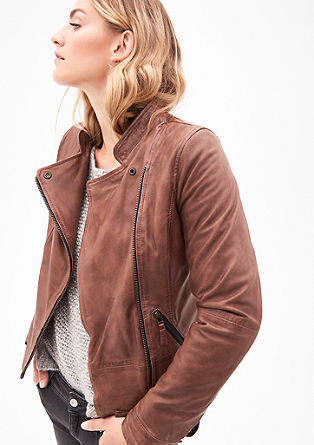 Elegant leather jacket in a biker style from s.Oliver