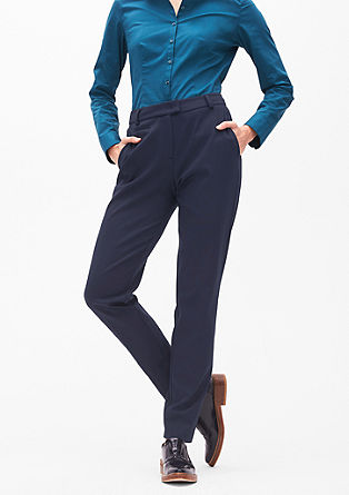 Jersey trousers with pressed pleats from s.Oliver