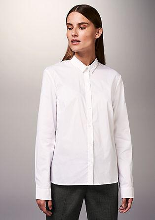 Popeline-Bluse mit Kellerfalte
