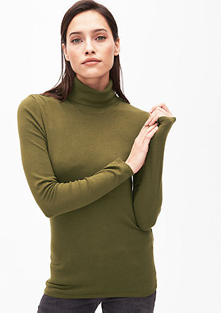 Soft fine knit jumper with a polo neck from s.Oliver
