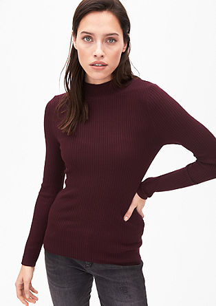 Rib knit jumper with a stand-up collar from s.Oliver