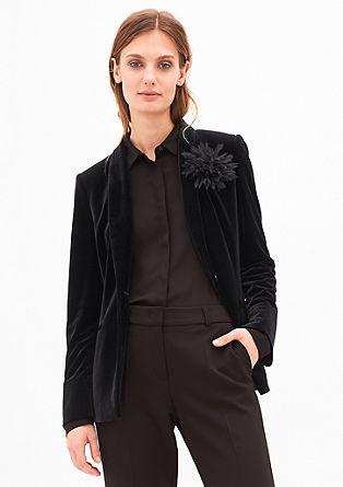 Elegante fluwelen blazer met broche