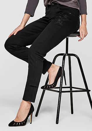 Sienna Slim: Black jeans with artwork from s.Oliver