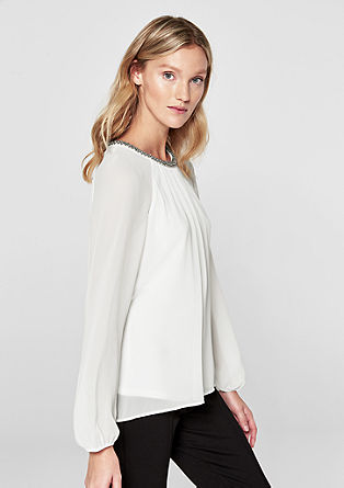 Chiffon blouse with a decorative collar from s.Oliver