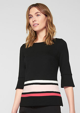 Colour block top with trumpet sleeves from s.Oliver