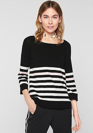 Glatter Pullover mit Streifen