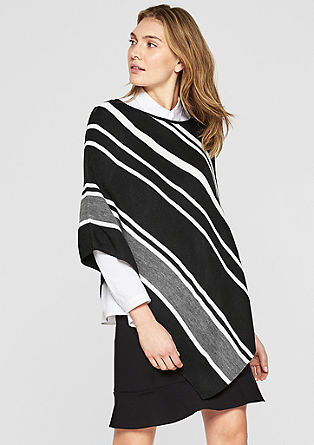 Poncho with black & white stripes from s.Oliver