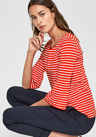 Striped top with flounce sleeves from s.Oliver