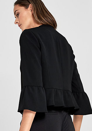 Short crêpe blazer with flounces from s.Oliver