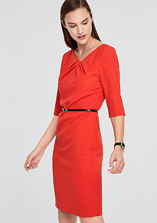 Slim-fitting crêpe dress with a belt from s.Oliver
