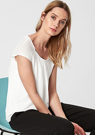 Chiffon blouse with fine pleats from s.Oliver
