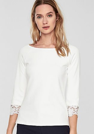 T-shirt with a lace trim from s.Oliver