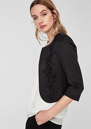 Short blazer with a lace appliqué from s.Oliver