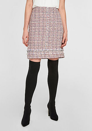 Short bouclé skirt with fringing from s.Oliver
