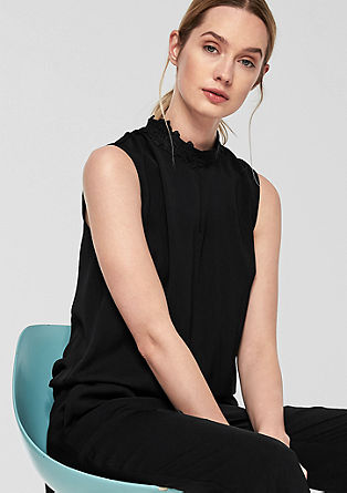 Crêpe jumpsuit with a lace collar from s.Oliver