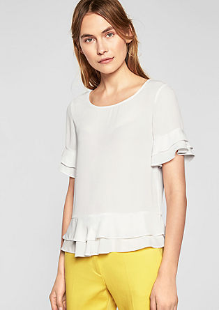 Blouse with a layered flounce from s.Oliver