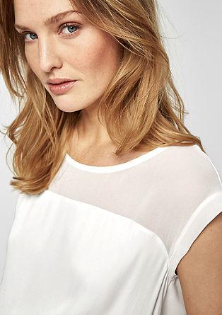 T-Shirt mit Chiffon-Passe