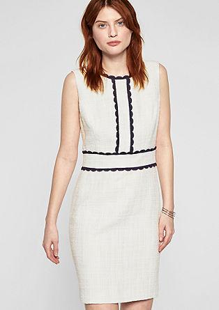 Bouclé-Kleid mit Kontrastborten