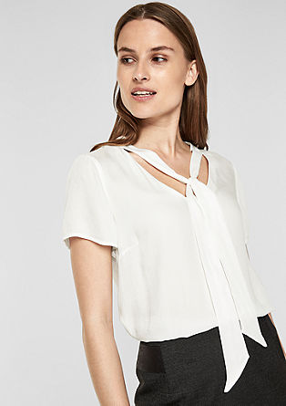 Short sleeve blouse with a pussycat bow from s.Oliver