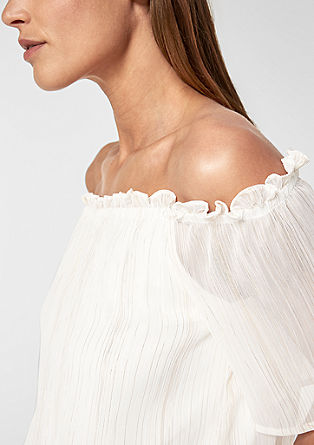 Off-shoulder blouse met glitterstrepen