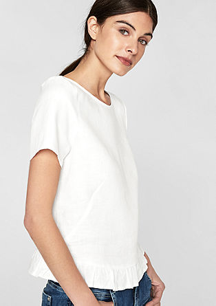Linnen blouse met volantzoom