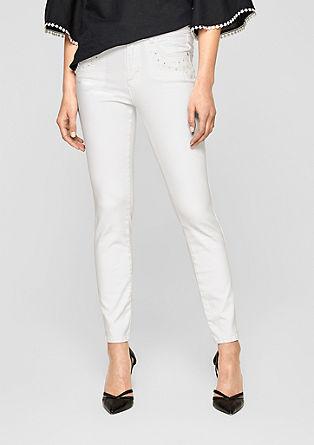 Sienna Slim: Bestickte Ankle-Jeans