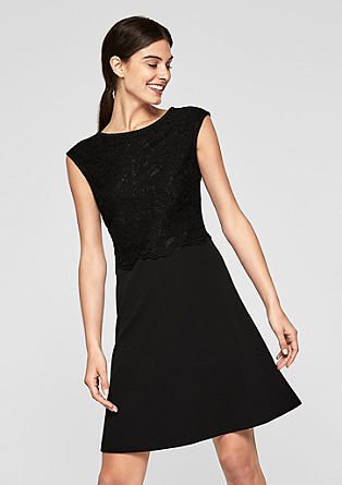 Stretch dress with lace from s.Oliver
