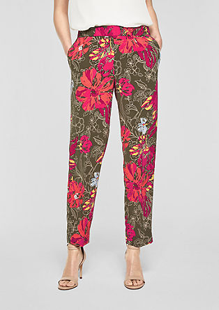 Rachel slim: crêpe broek met een print