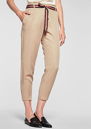 Sporty Fit: Lyocell trousers with a grosgrain ribbon from s.Oliver