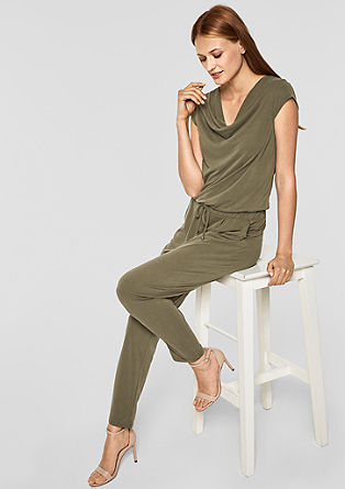 Jumpsuit with a cowl neckline from s.Oliver