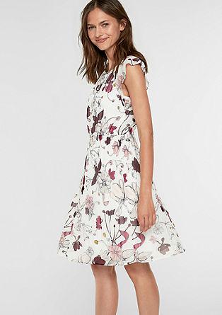 Chiffon jurk met geplisseerd rokgedeelte