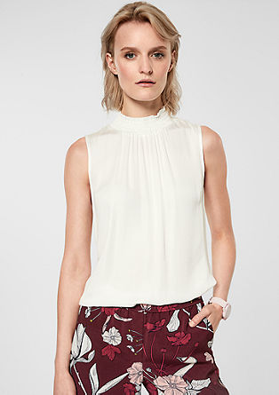 Satin blouse with a stand-up collar from s.Oliver