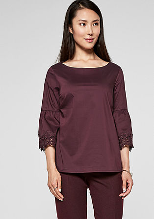 Poplin blouse with lace from s.Oliver