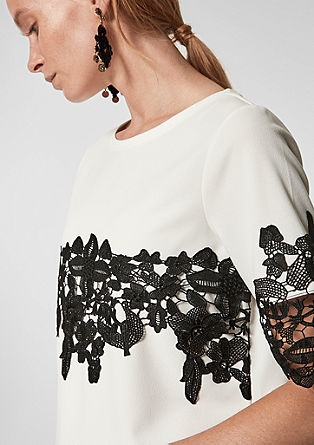 T-shirt with contrasting lace from s.Oliver
