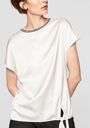 Halenkové tričko s detailem z žebrové pleteniny