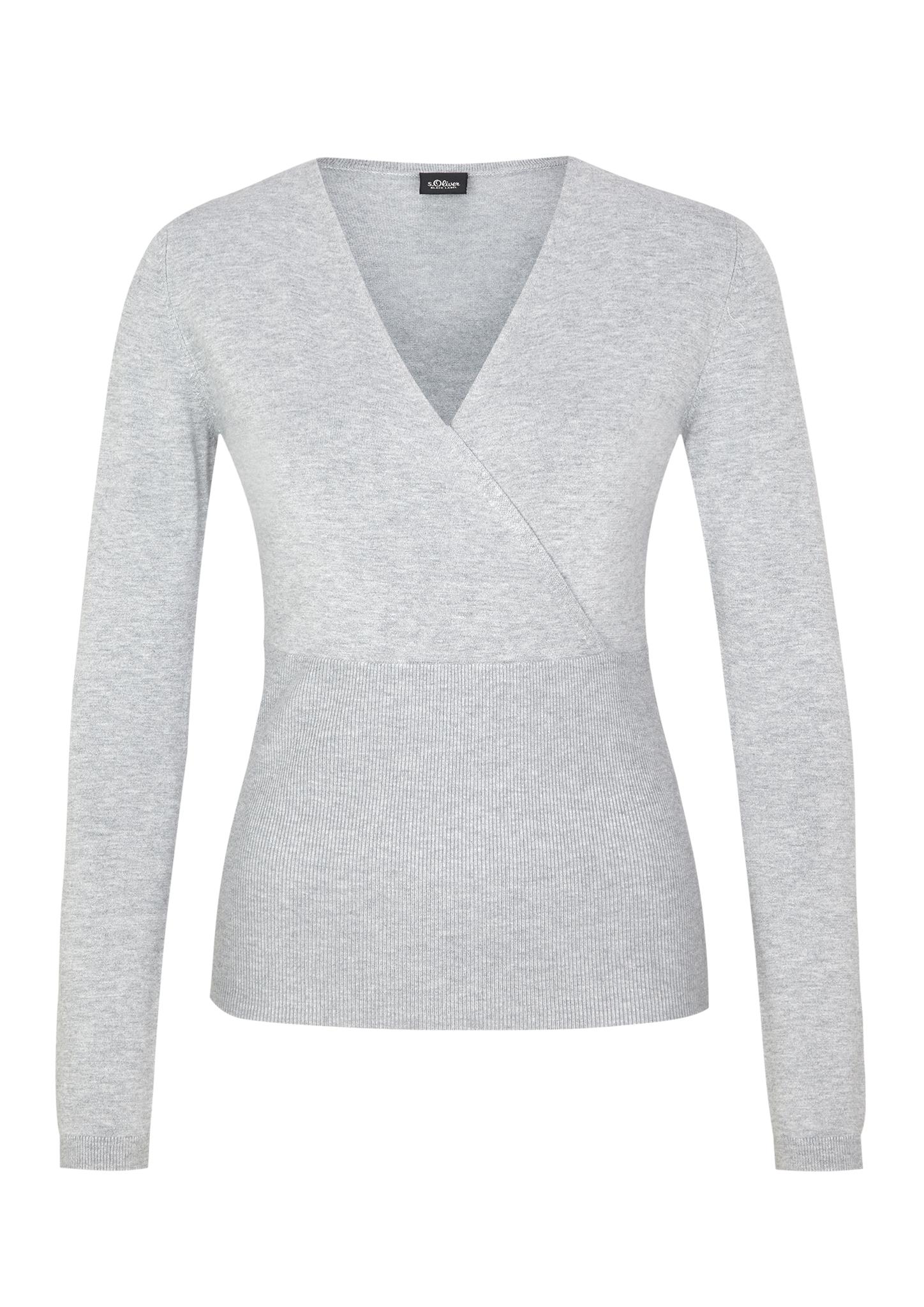 Wickel-Pullover | Bekleidung > Pullover > Wickelpullover | Grau/schwarz | 81% viskose -  17% polyamid -  2% elasthan | s.Oliver BLACK LABEL