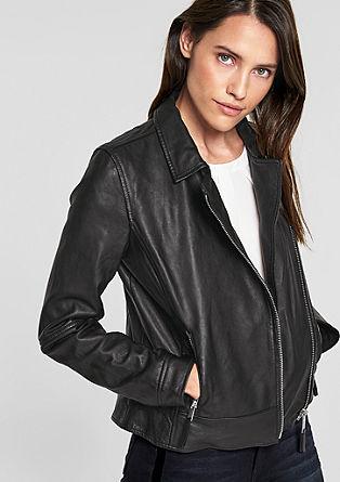 Motorkářská bunda z kůže napa