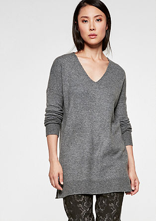 Long-Pullover aus Wollmix