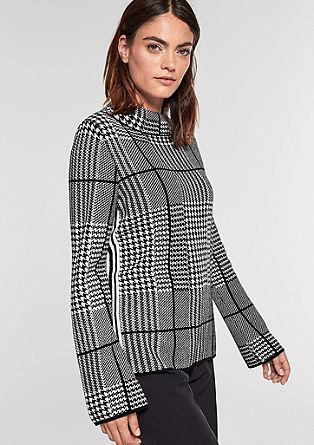 Jacquard-Pullover im Hahnentritt-Design